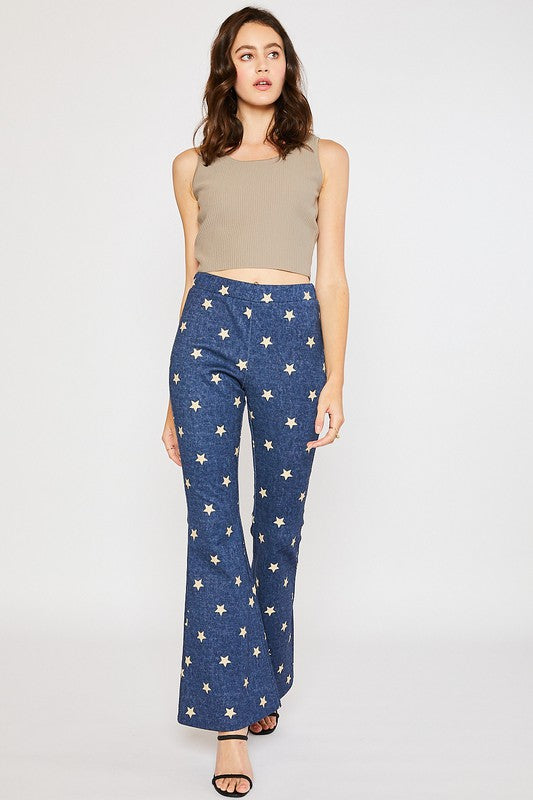 Star Denim Wide Leg Pants