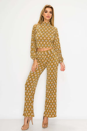 Bohemian Mustard Floral Fashion Set