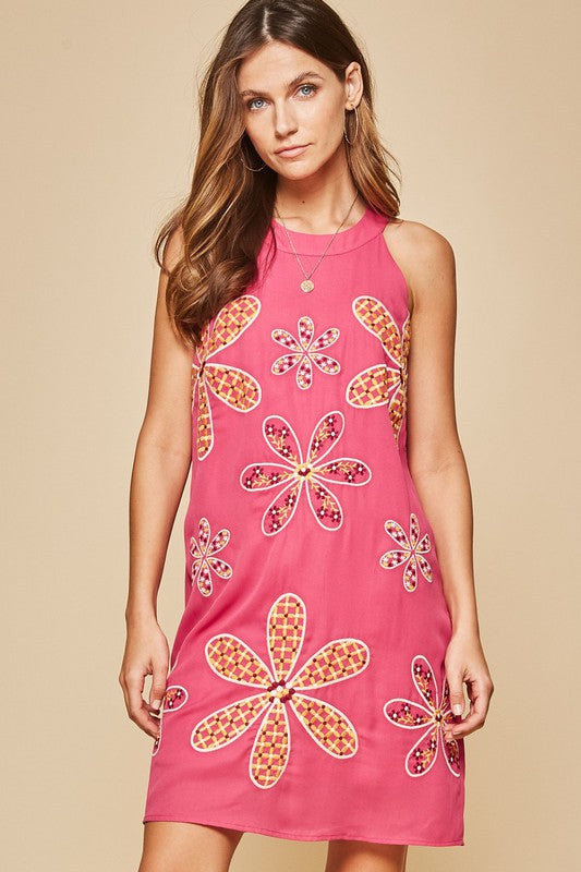 Pink Embroidered Flower Dress - Hippie Vibe Tribe