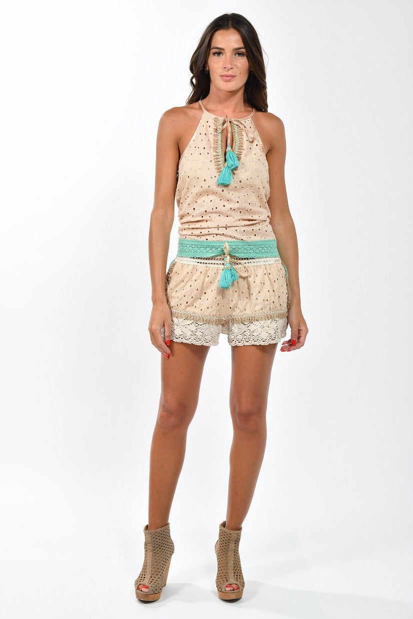 Bohemian Gypsy Girl Halter and & Shorts Set