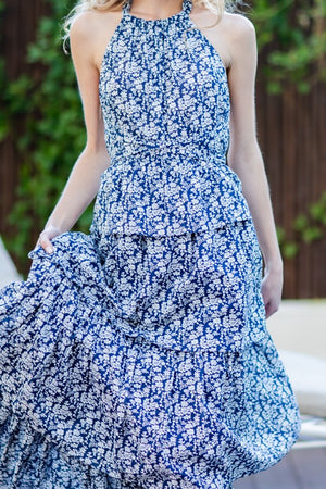 Blue Tie back Tiered Maxi Dress
