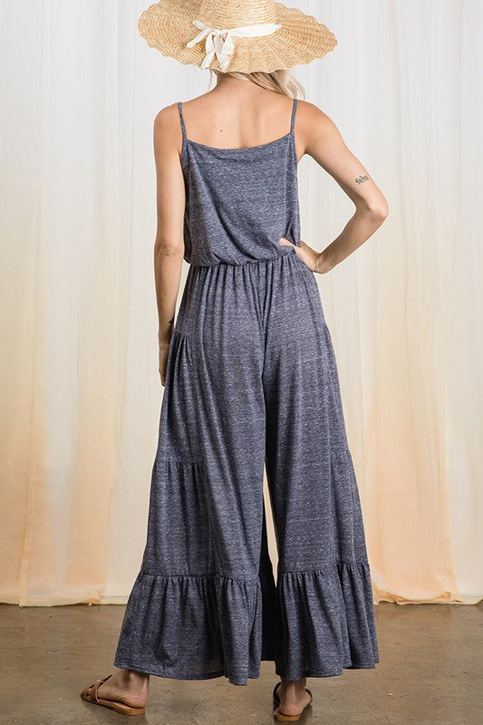 Wide Leg Ruffle Jumpsuit - Hippie Vibe Tribe