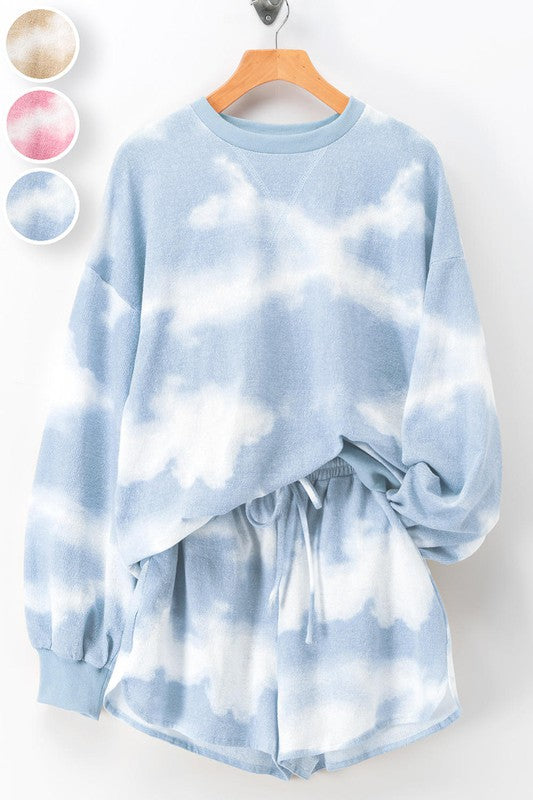Blue Cloud Tie-Dye Shorts Set