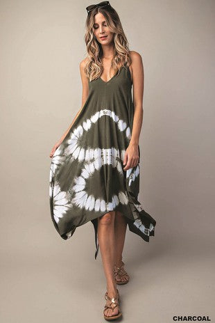 Charcoal Tie-Dye Scarf Dress