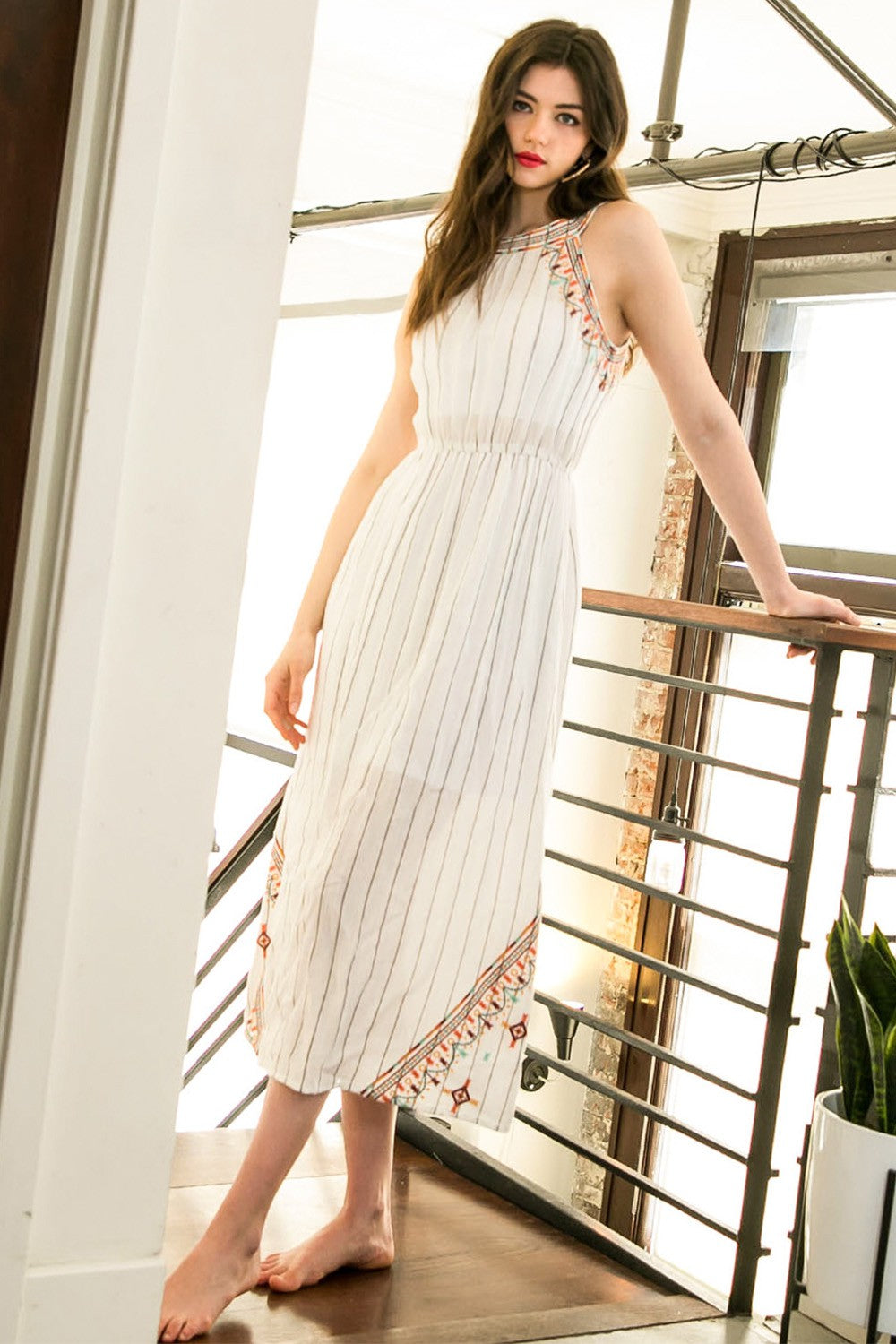 Embroidered Bohemian Halter Maxi Dress - Hippie Vibe Tribe