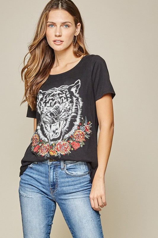 Rose Tiger Embroidered Graphic Tee