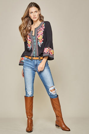 """Eye Catcher"" Bohemian Embroidered Top"