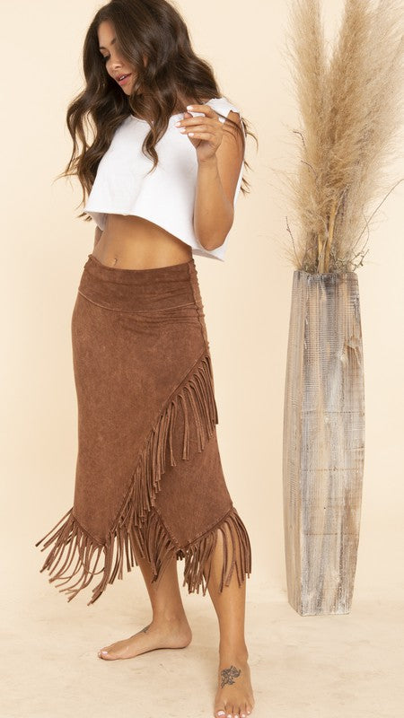 Brown Suede Fringe Skirt