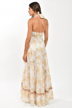 Palm Tree Embroidered Maxi Dress