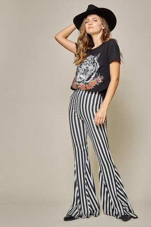Retro Striped Hippie Flare Pants