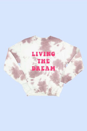 "Maroon Cotton Candy ""Living The Dream""  Tie-Dye Sweatshirt"
