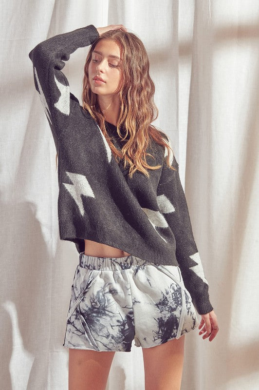 Lightning Bolt Knit Pullover