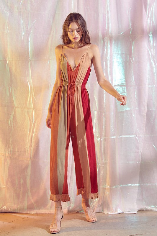 Bohemian Color Striped Ruffled Jumpsuit