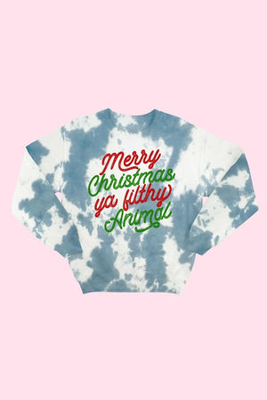 """Merry Christmas you Filthy Animal"" Tie-Dye Sweatshirt"