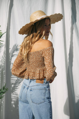 Floral Print Off-Shoulder Crop Top