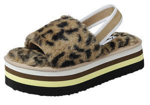 Leopard Womens Furry Strap Comfort Sandals