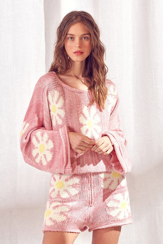 Pink Daisy Knit Sweater and Shorts Set