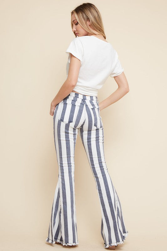 Striped Hippie Flare Jeans