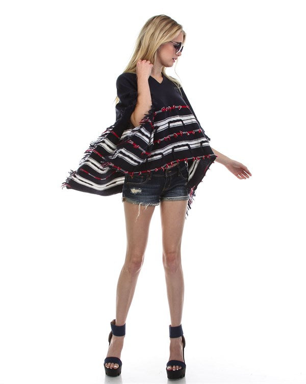 Fringed Tribal Poncho Sweater - Hippie Vibe Tribe