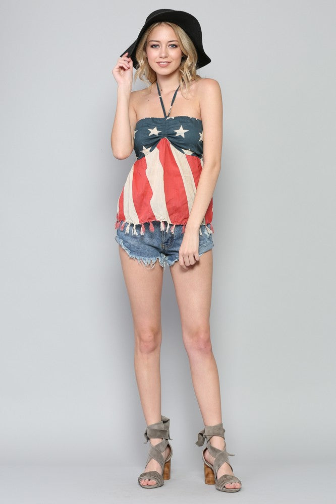 American Flag Halter Top - Hippie Vibe Tribe