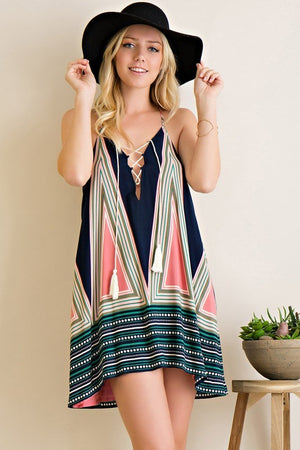 Geo Border Print Tent Dress - Hippie Vibe Tribe