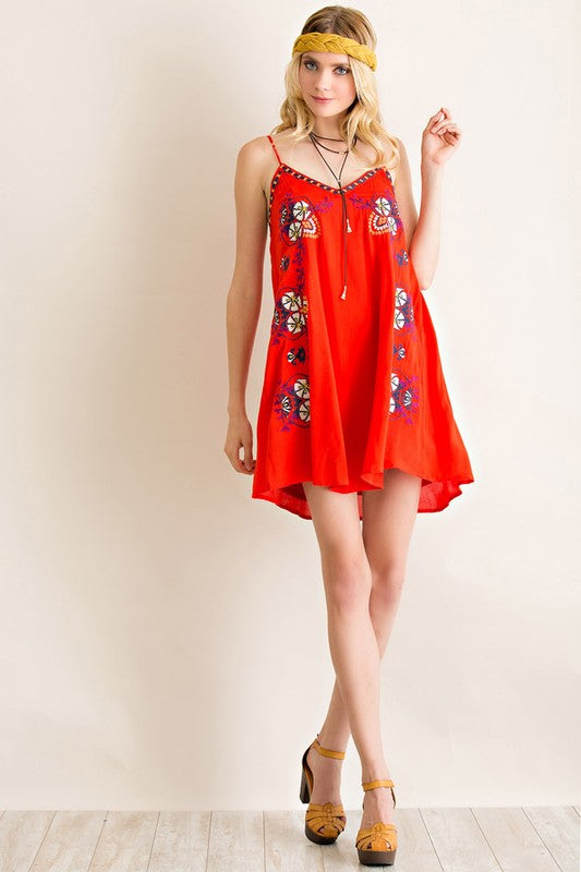 Boho Embroidered Slip Dress - Hippie Vibe Tribe