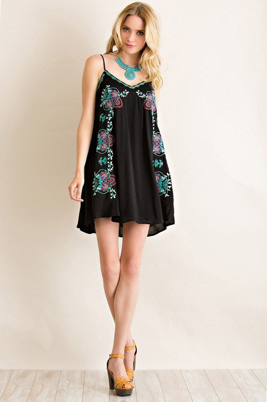Boho Embroidered Slip Dress - Black - Hippie Vibe Tribe