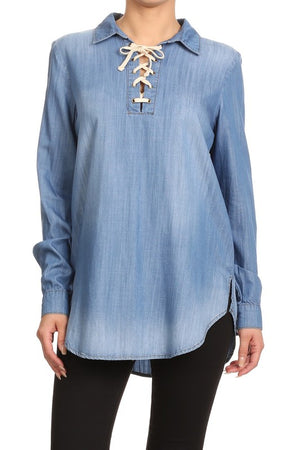 Denim Lace Up Blouse - Hippie Vibe Tribe