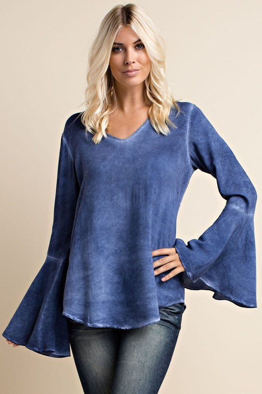 Denim Blue Bell Sleeve Blouse - Hippie Vibe Tribe