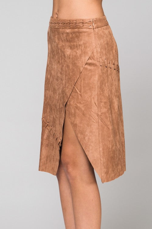 Suede Midi Skirt - Hippie Vibe Tribe