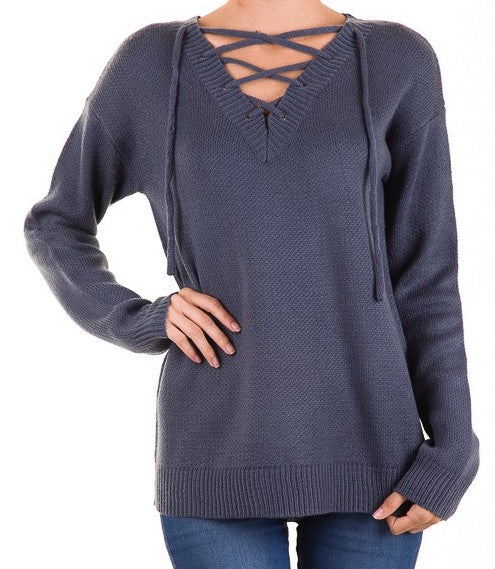 Cozy Front Lace Up Sweater - Hippie Vibe Tribe