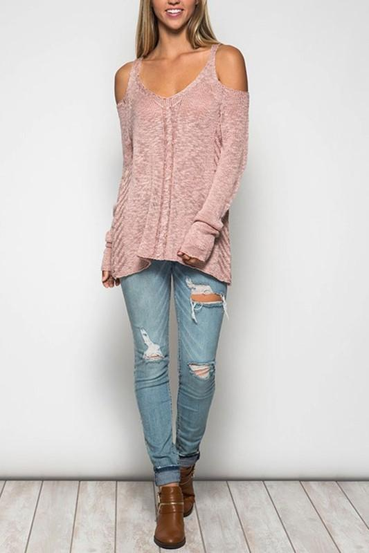 Cold Shoulder Sweater Top - Hippie Vibe Tribe