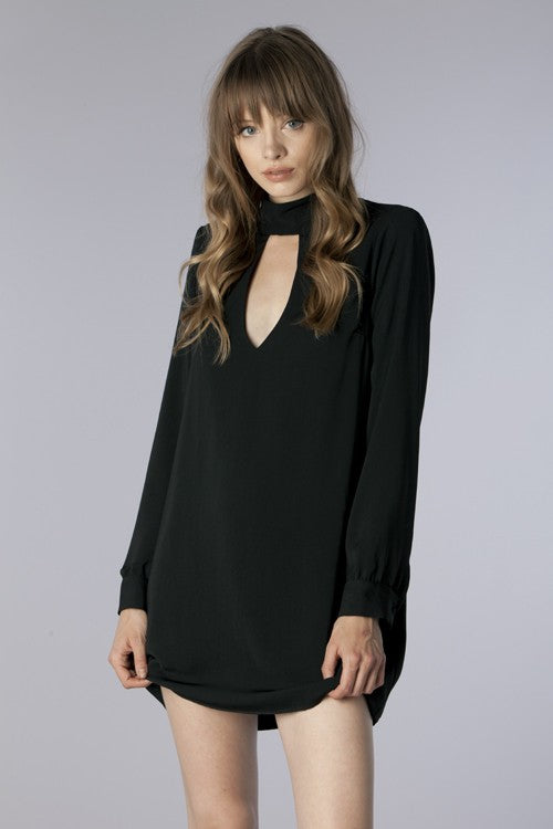Black Woven Long Sleeve Cocktail Dress - Hippie Vibe Tribe
