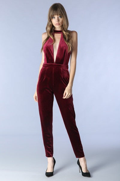 Burgundy Deep V-neck Jumpsuit - Hippie Vibe Tribe