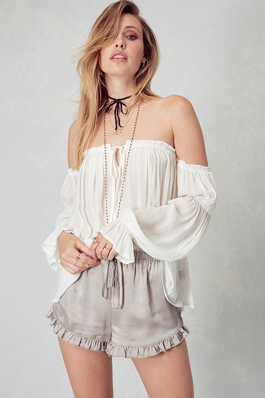 Ruffled Open Shoulder Chiffon Blouse - Hippie Vibe Tribe