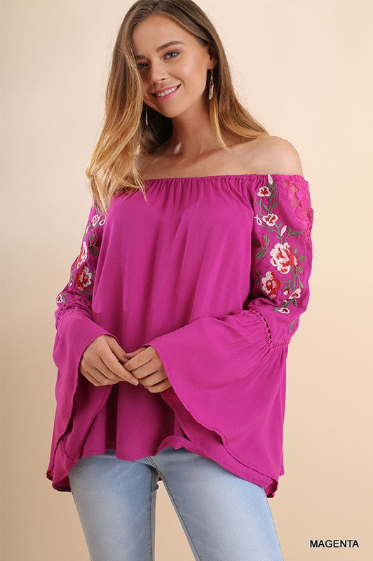 Fiesta Vibe Embroidered Off Shoulder Blouse - Hippie Vibe Tribe