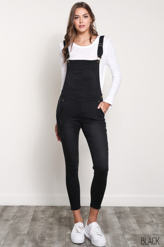 Stretchy Skinny-Fit  Black Denim Overall - Hippie Vibe Tribe