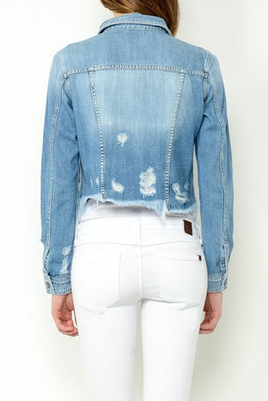 Frayed Bottom Denim Jacket - Hippie Vibe Tribe