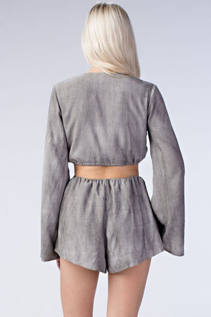 Grey Cutout Long Sleeved Romper - Hippie Vibe Tribe