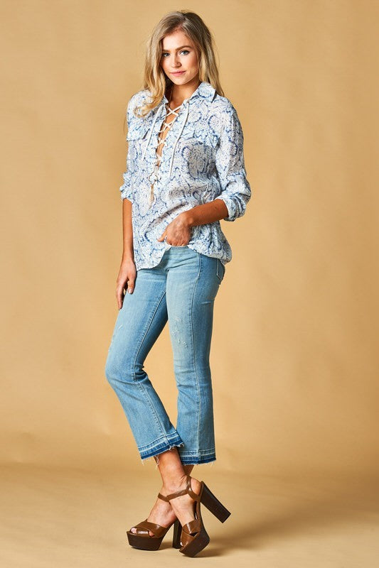 Oversized Lace-up Paisley Shirt - Hippie Vibe Tribe