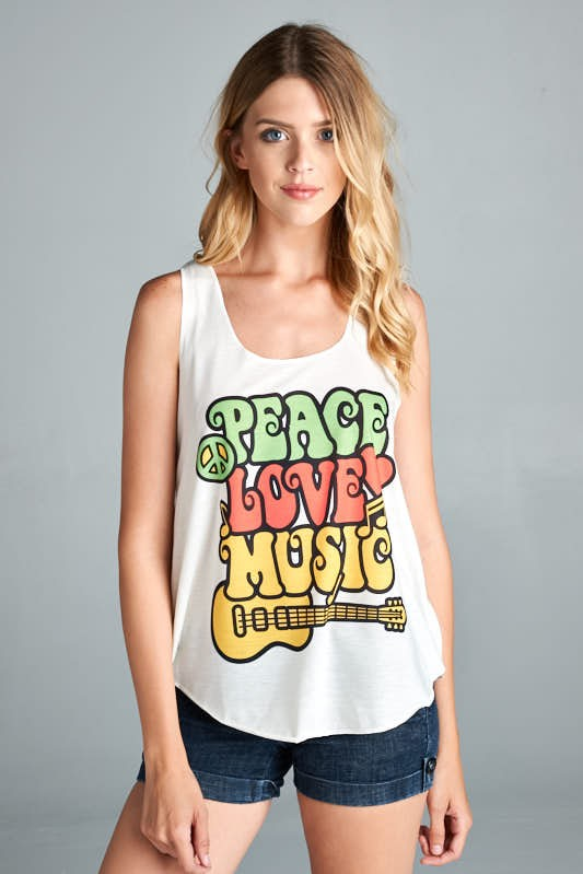 Hippie Peace Love Music Tank Top - Hippie Vibe Tribe