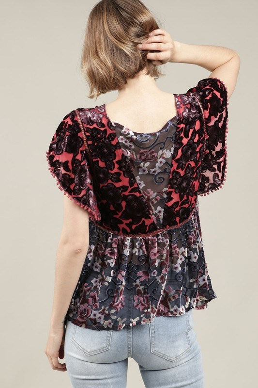 Velvet Ruffle Sleeve Top - Hippie Vibe Tribe