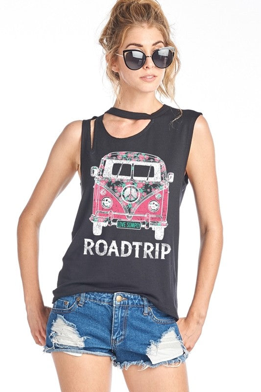 """Roadtrip"" Ripped Sleeveless Graphic Tank - Hippie Vibe Tribe"