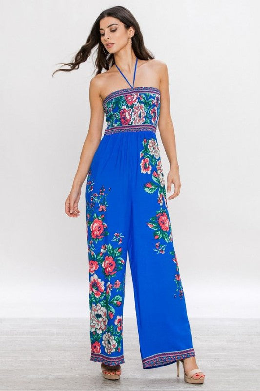 Halter Floral Jumpsuit. - Hippie Vibe Tribe