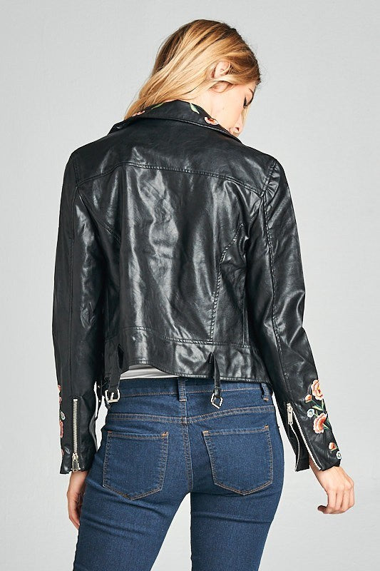 Leather Embroidered Jacket - Hippie Vibe Tribe