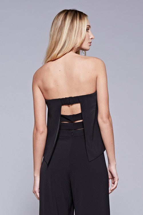 Black Strapless Jumpsuit with Three Band Back Straps - Hippie Vibe Tribe