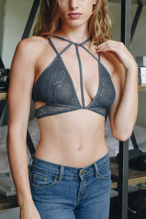 Grey Strappy Lace Bralette for that Sensual Side - Hippie Vibe Tribe