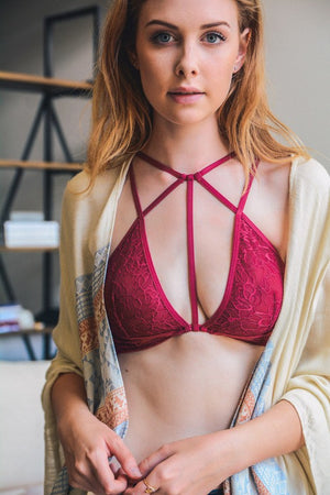 Burgundy Strappy Lace Bralettte for that Sensual Side - Hippie Vibe Tribe