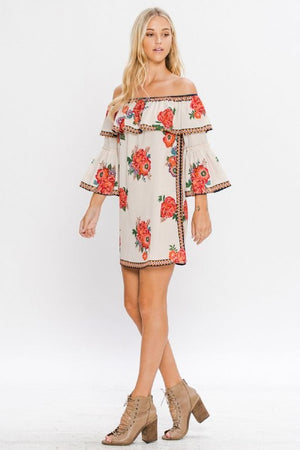 Off Shoulder Floral Mini Dress - Hippie Vibe Tribe