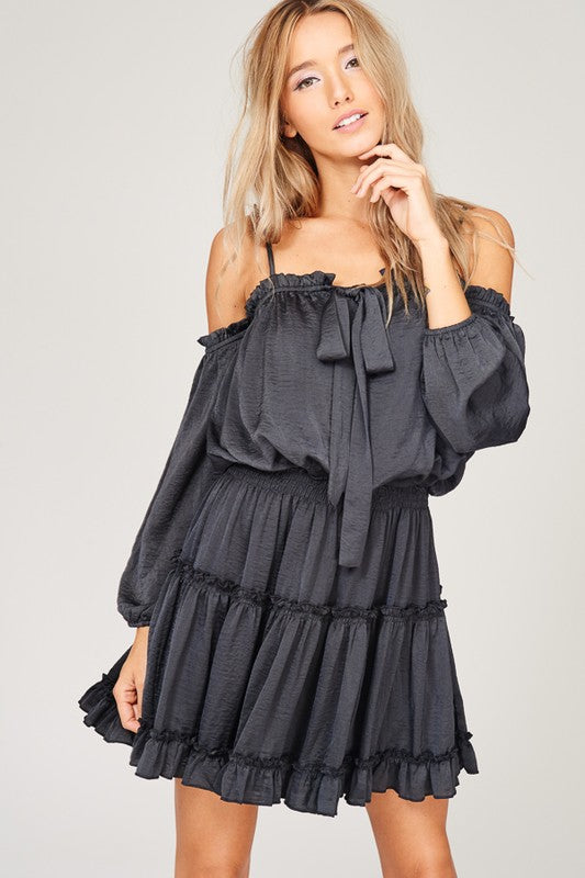 Charcoal Open Shoulder Swing Dress - Hippie Vibe Tribe